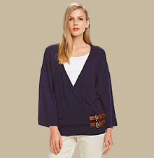 NWT MICHAEL KORS Womens Navy Bucle Wrap Kimono Pullover Sweater $120