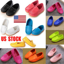 Boys Girls Oxford PU Leather Kids Boat Sneakers Slip On Loafers Flats Shoes Size