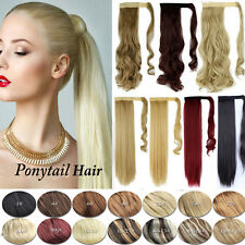 Magic Wrap around Ponytail Clip in Hair Extension Real Human Made Synthetic Pd3