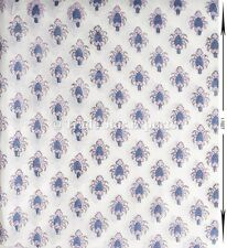 100% Cotton Voile Natural Hand Block Print Upholestry Running Fabric by the Yard