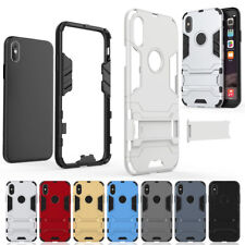 Shockproof Hybrid Rubber Hard Defender with Stand Case For Apple iPhone X 10