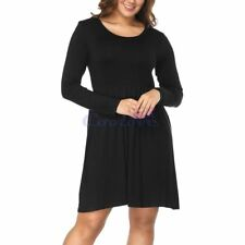 Women's Long Sleeve Casual Swing T-Shirt Dresses Solid Loose Scoop Neck Blouse