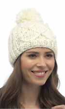 Ladies Chunky Cable Beanie Hat With Pom-Pom-Winter Thermal Hat GL494