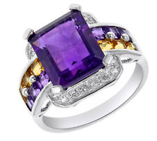 Halo Ring 14K Gold Over Sterling Amethyst, Citrine & Topaz - 4.42 Cttw $499.95