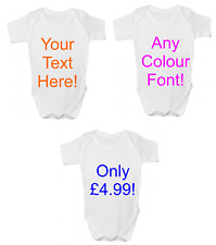 ANY TEXT HERE FUNNY BABY GROW BODY SUIT VEST PERSONALISED BABY GIFT