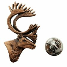 Caribou or Reindeer Head Pin ~ Antiqued Copper ~ Lapel Pin