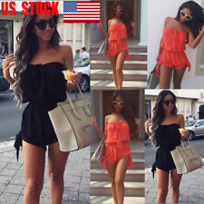 US Womens Holiday Mini Playsuit Clubwear Jumpsuit Summer Beach Romper Size 2-18