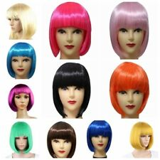 US Women BOB Short Wig Hair Straight Full Bangs Wig Hair Party Cosplay Costume