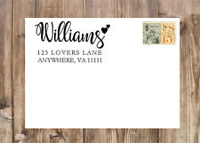 Personalized Script Last Name Hearts Self-Inking Rubber Return Address Stamp