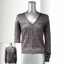 Simply Vera by Vera Wang Space-Dye Cardigan Button Up Sweater XS