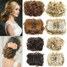 Lady Women Wave Curly Combs Clip In Hair Bun Piece Updo Cover Hair Extension P64
