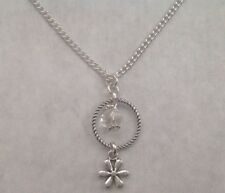 Daisy Flower Clear Crystal & SP Daisy Spacer Bead Silver Plated Chain Necklace