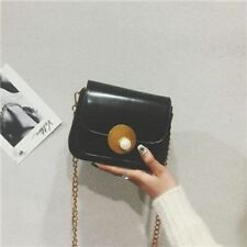 Women Pu Leather Black Brown Color Flap Shaped Chain Decorated Crossbody Bag
