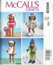 "18"" GIRL DOLL Swimsuit Ski Skate  McCall's 6938 American Sewing Pattern UNCUT"