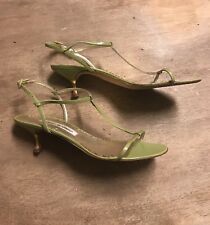 💕Gorgeous 37.5 Strappy Dainty Manolo Blahnik Kitten Heel Sandals Apple Green💕