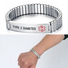 Unisex Stainless Steel Medical Alert ID TYPE 2 DIABETES Wristband Bracelet