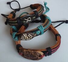 Surfer/Tribal Brown Leather and Hemp Adjustable Unisex Bracelet's