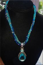 Sterling Silver Layered Apatite Lapis Necklace and Crystal & Apatite Pendant.