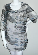 Beautiful! Abstract Sheer Chiffon Smocked Top Blouse Tunic - Plus 14W 16W - New!