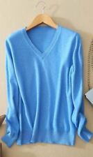 Women Light Blue Color V-Neck Knitted Slim Fit Pullover Sweater