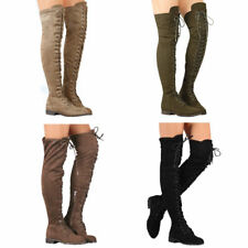 Women Low Heel Boots Flat Shoes Over The Knee Lace Up Bandage Thigh High Combat