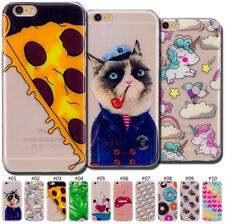 For iPhone X 6s 7 8 Plus Fashion Clear Back Painted Gel TPU Soft Case Cover Skin
