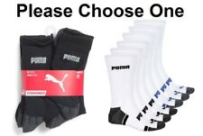 PUMA MENS 6 PACK HALF TERRY CUSHIONED CREW ATHLETIC SOCKS WHT BLK LARGE