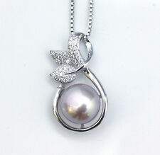 Noble Jewel Freshwater Pearl 925 Sterling Silver Pendant Box Chain Necklace