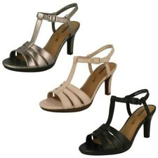 Ladies Clarks T-Bar Buckle Ankle Slingback Leather Heel Sandals - Adriel Tevis