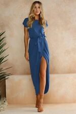 Women Short Sleeve O Neck Solid Color Party Wear Tunic Maxi Dress G94
