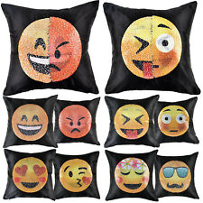 Funny Emoji Mermaid Pillow Case Reversible Sequin Cushion Covers Home Décor 16""