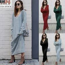 Womans Knitted Sweater Party Cocktail Midi Dress Casual Long Jumper Knitwear NEW