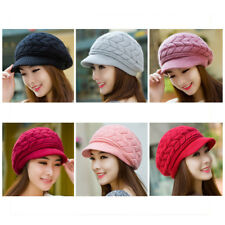 Women Winter Warm Earmuffs Wool Knitted Hat Beanies  Thickened Middle-aged  Cap