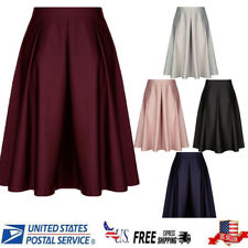 US Stock Women High Waist Skater Flared Pleated Swing Solid Long Skirt Dress