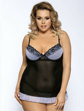 Plus Size Transparent Polka Dot Babydoll with Lace