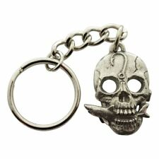 Skull with Shark Fish Head Keychain ~ Antiqued Pewter ~ Keychain