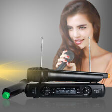 Wireless Karaoke Microphone VHF 2 Cordless Handheld Mic with LCD Receiver System
