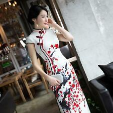 Chinese Womens Printing Plum Blossom Cheongsam Qipao Dress Long Evening Gown New