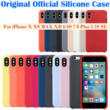 For Apple iPhone X 8 Plus 7 6 6s 5 5S SE XS XR Original Silicone Back Case Cover