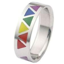 Gay Pride Rainbow Triangles Stainless Steel Ring Lesbian