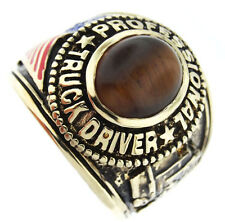 Truck Driver Brown Tiger Eye 18kt Gold Plated Ring New
