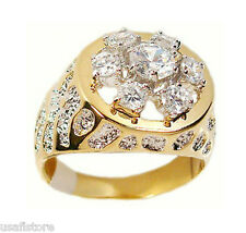 Seven Clear CZ Stones Two-Tone Gold EP Mens Nugget Ring