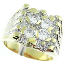 Four Simulated Diamond 18kt Gold EP Two Tone Mens Ring