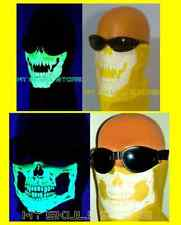AMERICAN MADE YELLOW BIKER SKULL FACE BANDANA MASK SKI GLOW IN THE DARK-WHITE