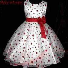 Reds Polka Dot Christmas Pageant Wedding Party Flower Girls Dresses SIZE 3 to 8Y
