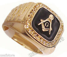 Masonic Mason RX Black 18Kt Gold EP Mens Ring