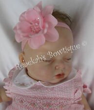 PINK FLOWER SEQUIN HAIR BOW HEADBAND CLIP EASTER SPRING