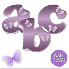 Purple Butterfly Decal Letters Childrens Nursery Baby Room Name Wall Stickers