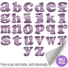 Name WallLetters Alphabet Stickers Initial Decals Girls Decor Purple Flower
