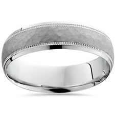 Hammered Mens Solid White Gold Comfort Fit Wedding Band Ring 6MM 10K 7-12